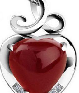 Hõbe 925 ripats ketiga punane Ahhaat süda