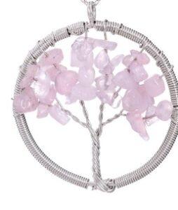 Hõbetatud traadiga valmistatud roosast kvartsist ripats